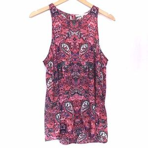 VIOLET CLAIRE Red Pink Paisley Floral Tank Blouse